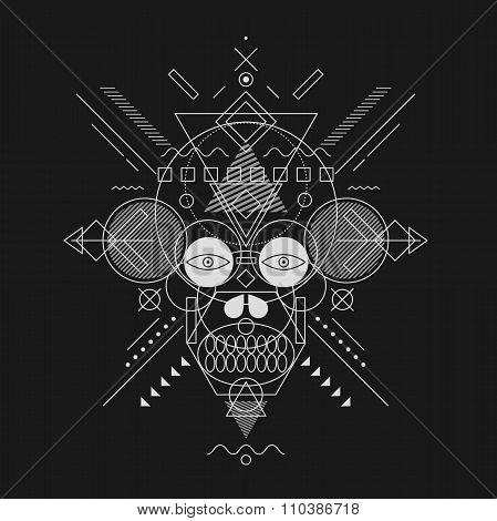 Skull painted geometric shapes