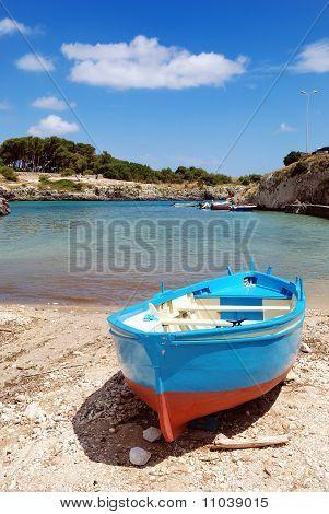 Blue row-boat