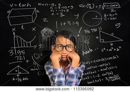 Little Asian Student Girl Getting Sick Of Math