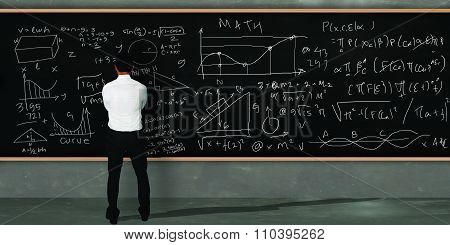 Businessman Trying To Solve Math Equivalents