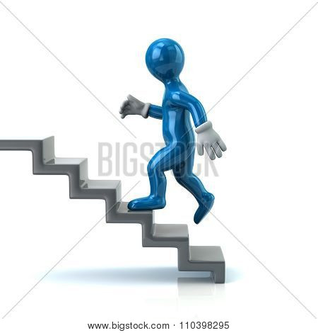 Blue Man On Stairs Going Up
