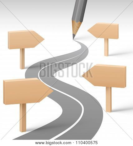 Road with Pencil and Wooden Signposts on Grayscale