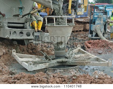 Bore pile casting work at the construction site
