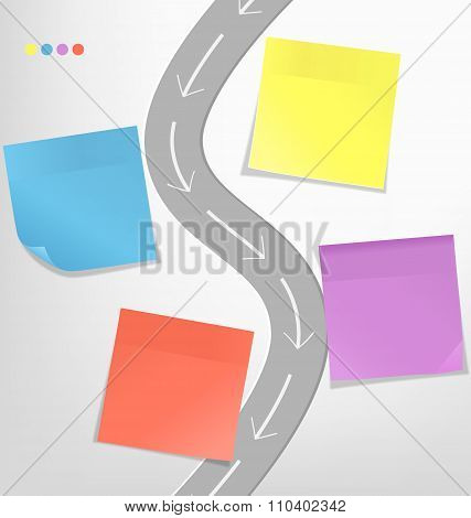 Infographic elements paper sticker with road on grayscale