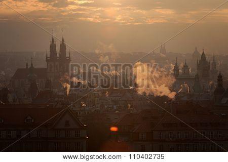 Czech Republic, Prague,  oldtown roofs during twilight poster
