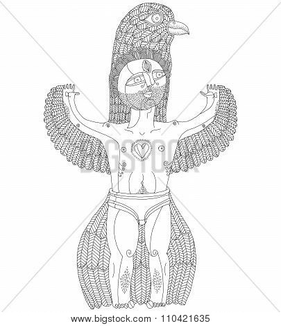 Vector Hand Drawn Graphic Illustration Of Weird Creature, Cartoon Nude Man With Wings, Animal Side
