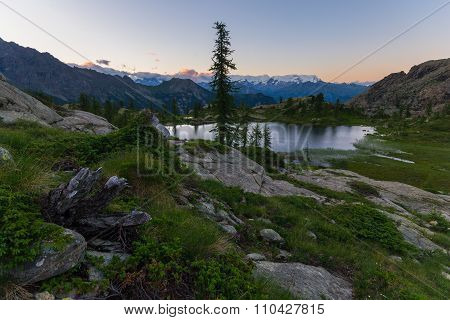 High Altitude Alpine Landscape At Dusk