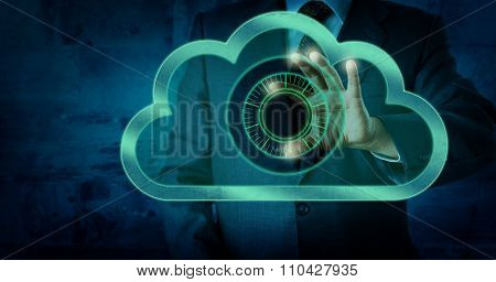 Manager Touching Virtual Dial Lock In The Cloud