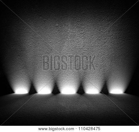 black interior with spotlights