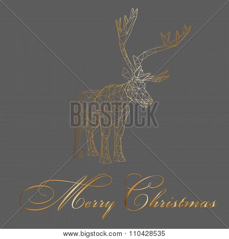 Vector Illustration Big Buck. The Structural Grid Of Polygons. Abstract Creative Concept Deer Vector