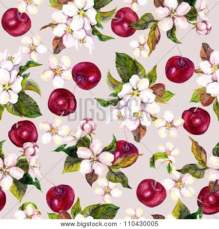 Cherry flowers and cherry berries. Seamless floral pattern. Watercolor