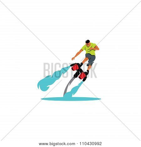 Flyboarding man. Vector Illustration. The sportsman soars over the water on a white background
