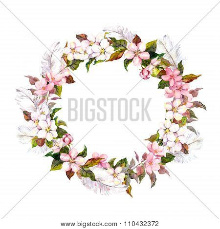 Vintage border wreath with blossom flowers -herry, apple flower and feathers. Retro water color in s