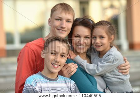 Family having fun n city