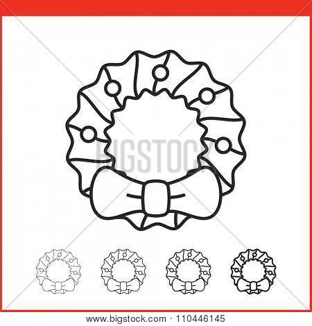 Christmas wreath icon. Vector icon. Linear style