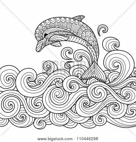 Dolphin Zentangle