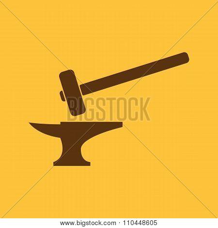 The smithy icon. Forge and stithy, blacksmith symbol. Flat