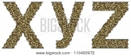 Lowercase xyz letters made of gold and silver frame