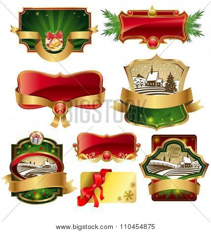 Christmas labels with lovely winter landscape for greeting cards, banners, presentations, decorations. Easy to edit all pieces are separated.