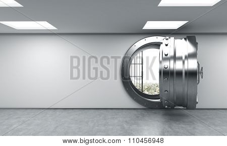 3D rendering of a big open round metal safe in a bank depository with money on the floor behind bars a concept of saving wealth poster