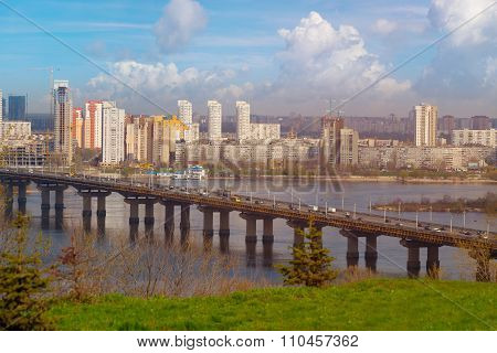 Long Bridge With Traffic In Kiev Ukraine