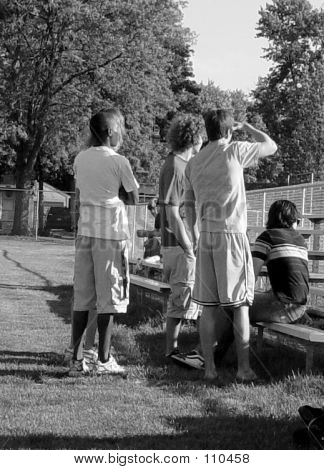 Group Of Young Men Watching The Game