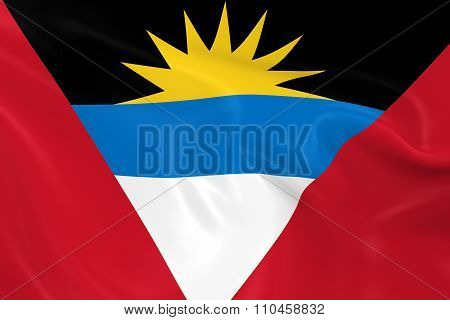 Waving Flag Of Antigua And Barbuda - 3D Render Of The Antiguan And Barbudan Flag With Silky Texture