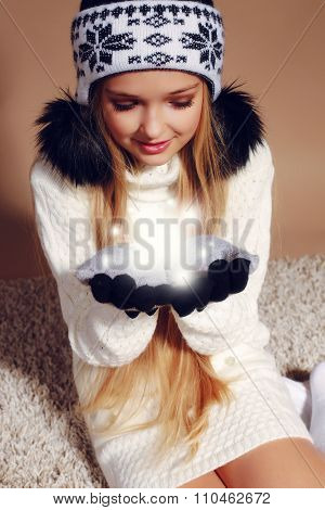 Winter Photo Of Cute Little Girl Whith Long Blond Hair Wearing A Hat Ang Gloves Catches A Snow