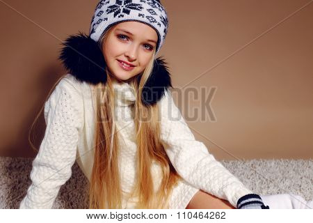 Winter Photo Of Cute Little Girl Whith Long Blond Hair Wearing A Hat Ang Gloves