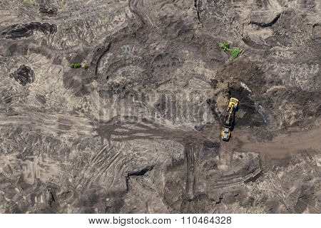Aerial view of diging coal on surface mining