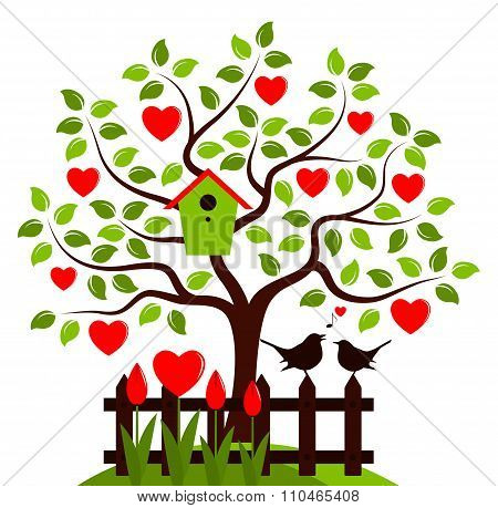 Heart Tree And Love Birds