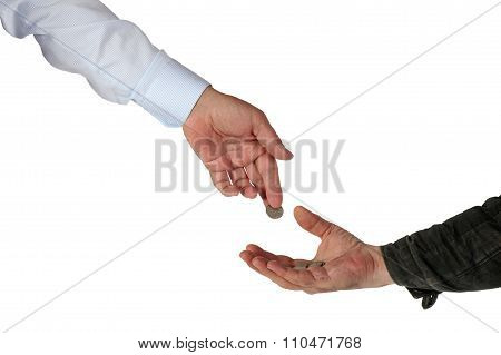 Charity. Rich Submits Alms To The Poor Man