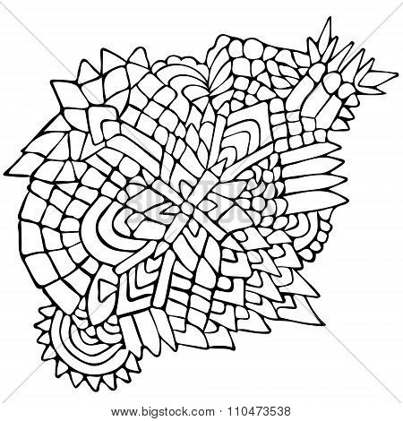 Zentangle Elements Figure Simple Black White 3