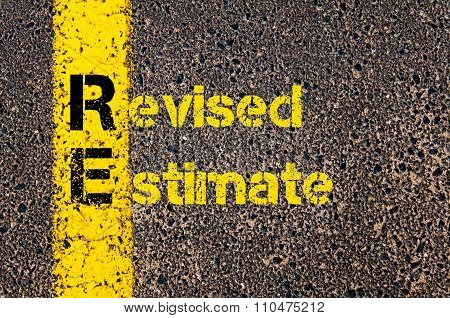 Accounting Business Acronym Re Revised Estimate