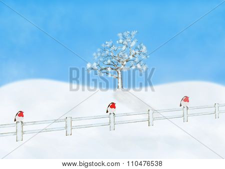 Wintry Scene With Robins On A Fence