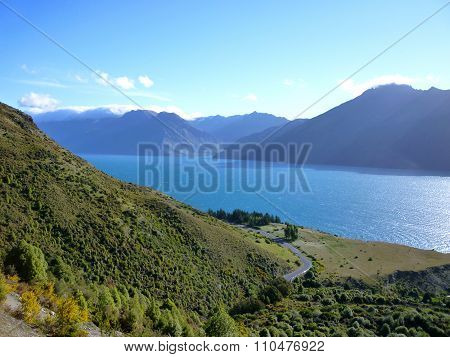 Lake Wakatipu from the Remarkables Mountains in Summer.