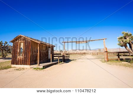 Corral for horses in the western pioneer town