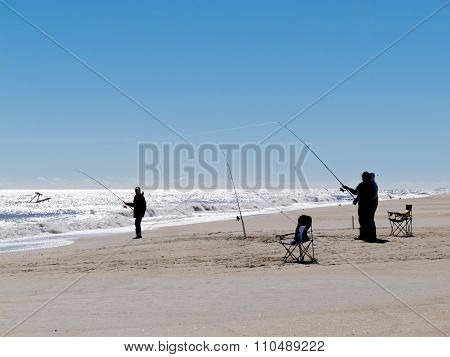 Surf Fishing Outer Banks Beach, Nc, Usa