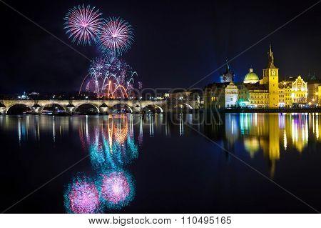 New year Fireworks in Prague, Czech Republick