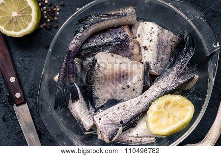 Pieces Of Fish Pollock In Glassware