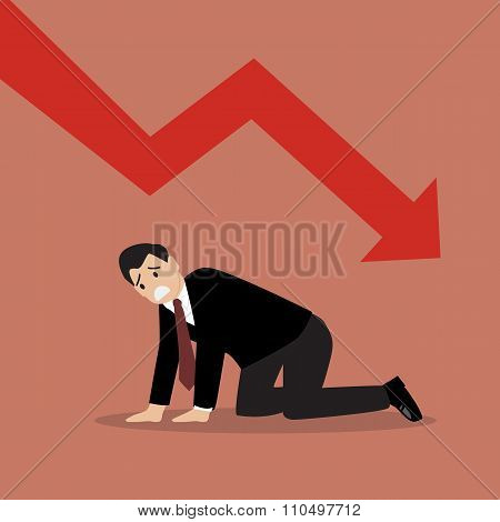 Desperate Businessman With Graph Down