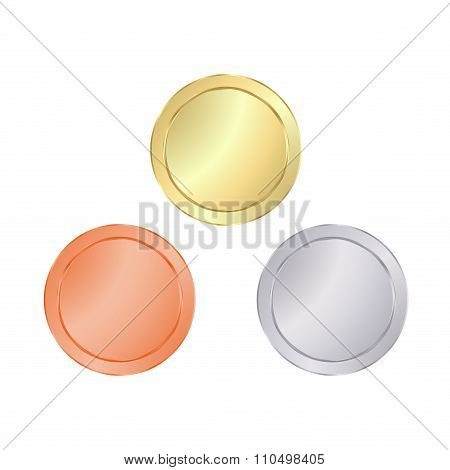 Empty Blank Vector Templates For Coin, Price Tags, Sewing Buttons, Buttons, Icons Or Medals With Gol