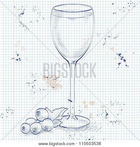 Kir alcohol cocktail, consisting of Dry white wine and blackcurrant liquor on a notebook page