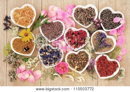 Healing herb and flower selection used in herbal medicine in heart shaped bowls with pollen and honey bee over oak background. poster