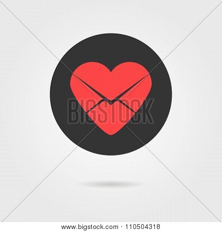 red heart in black circle like love letter icon with shadow