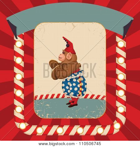 Vintage wind-up toy monkey with timpani and red hubcap. Vector retro illustration