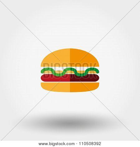 Burger  Icon. Flat.