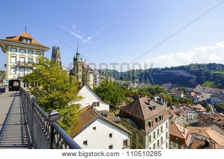 Fribourg Cityscape Seen From The Bridge