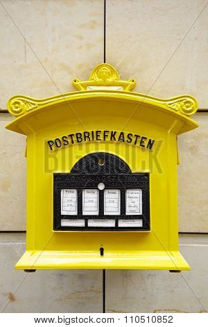 Painted Yellow Mailbox In Dresden