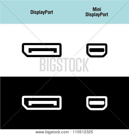Displayport And Mini Displayport Icons